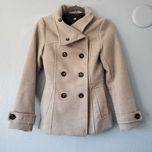 H&M tan double breasted button up pea coat